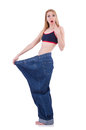 Dieting concept with oversize jeans Royalty Free Stock Images