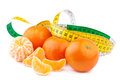Dieting concept tangerines with measuring tape freshtangerines Stock Image