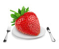 Dieting giant strawberry on a plate concept on white Stock Images