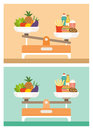 Diets comparison healthy and unhealthy with vegetables and junk food on a weight scale Royalty Free Stock Image