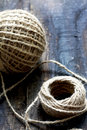 Diferent balls of string on wooden table Royalty Free Stock Image