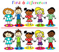 Difference game with kids stick figures find or visual puzzle figure cartoon little boys and girls ethnic diversity Royalty Free Stock Photo