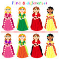 Difference game with princesses find or visual puzzle ball gown Stock Photo