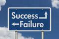 Difference between Success and Failure road sign Royalty Free Stock Photo