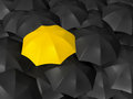 Difference of yellow umbrella open standing out from the crowd over many dark ones group black umbrellas Royalty Free Stock Images
