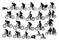 Different active people riding bikes silhouettes collection, man woman couples family friends children cycling to office work, tra