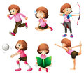 Different activities of a little lady illustration the on white background Royalty Free Stock Image