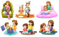 Different activities of a mother and a child illustration the on white background Royalty Free Stock Image