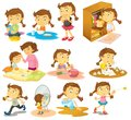 Different activities of a young girl illustration the on white background Stock Photography