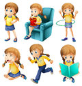 Different activities of a young girl illustration the on white background Royalty Free Stock Photos