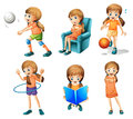 Different activities of a young lady illustration the on white background Royalty Free Stock Photography