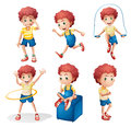 Different activities of a young man illustration the on white background Royalty Free Stock Photo