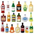 Different alcohol drinks bottle set. Beer and wine, vodka and gin Royalty Free Stock Photo