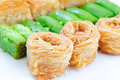 Different baklava rows of turkish of kinds Royalty Free Stock Photos