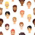 Different beard man head face vector icons seamless pattern background
