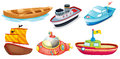Different boat designs illustration of the on a white background Stock Photography
