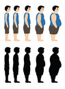 Different Body Mass from thin to fat also in silhouette. Vector illustration on a white background