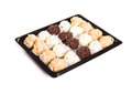 Different bonbons tray Royalty Free Stock Image