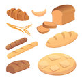 Different breads and bakery products vector illustrations. Buns for breakfast. set bake food and toast isolated.
