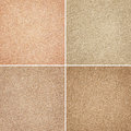Different brown fabric textures set of Stock Photography
