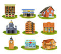 Different buildings and places isolated on a white background Royalty Free Stock Photography