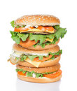 Different burgers tower Royalty Free Stock Photos