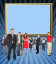 Different businessmen standing against screen Royalty Free Stock Photo