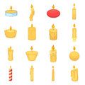 Different candle icons set, cartoon style