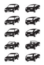 Different cars in perspective vector illustration Stock Photo
