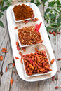 Different chillies portions of chilli spices Stock Photo