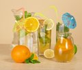 Different citrus drinks Royalty Free Stock Photo