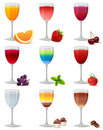 Different cocktails and juices on white Royalty Free Stock Photos