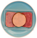 Different cold meat a packet of knids of meats on a plate Royalty Free Stock Photo