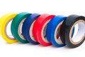 Different color electrical tapes Royalty Free Stock Photo