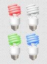 Different color lightbulbs on transparent background