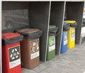 Different Colored Bins For Collection Of Recycle