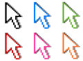 Different colored mouse cursors Royalty Free Stock Photo