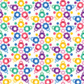 Different colored shapes gears on a white background abstract s seamless pattern Stock Photography