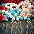 Different colorful beads. Royalty Free Stock Photo