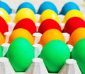 Different colorful easter eggs happy holiday chicken egg traditional christian eastertime painted eggs rainbow colors Stock Image