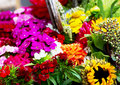 Different colorful flowers in a flowershop big bouquet of Royalty Free Stock Photography