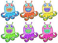 Different colors of an octopus toy illustration the on a white background Stock Images