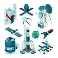 Different constructions in space center for rocket launch Royalty Free Stock Photo