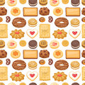 Different cookie cake vector seamless pattern sweet food