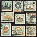 Different countries set of stamps from with architectural landmarks Royalty Free Stock Photos