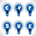 Different country currency symbol world globe men lift bulb stock Royalty Free Stock Image