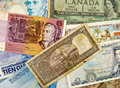 Different currency banknotes Stock Image