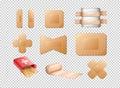Different designs of bandages on transparent background