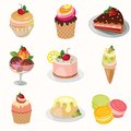 Different desserts with fruit
