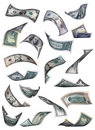 Different dollar bills falling Royalty Free Stock Images